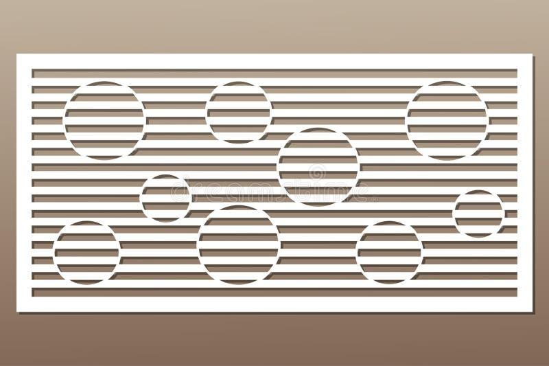 Cartão decorativo para cortar Linha teste padrão do círculo laser ilustração royalty free