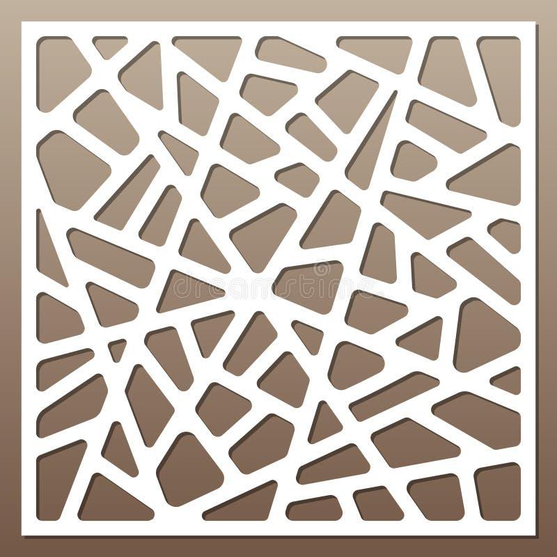 Cartão decorativo para cortar linhas abstratas teste padrão Corte do laser 1:1 da relação ilustração royalty free