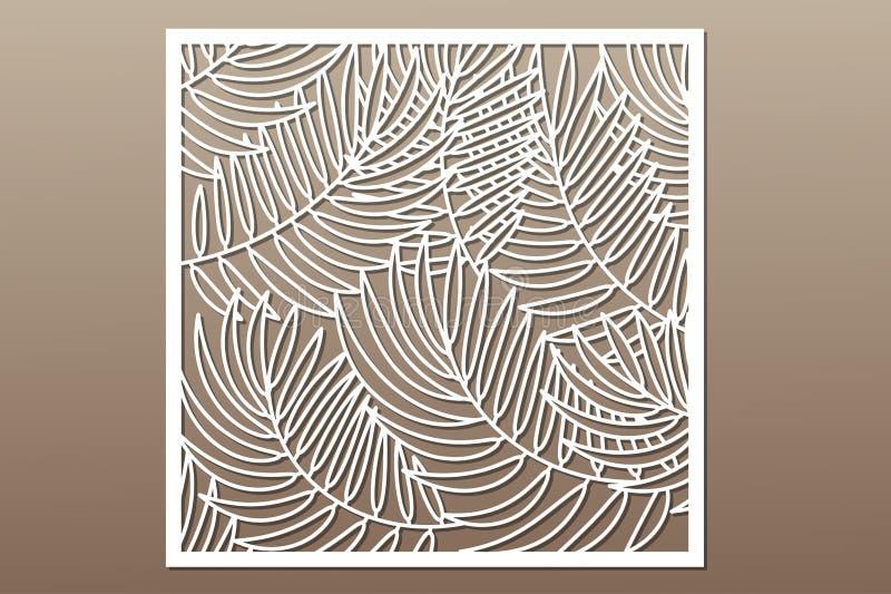 Cartão decorativo para cortar Teste padrão em folha de palmeira Corte do laser ilustração do vetor