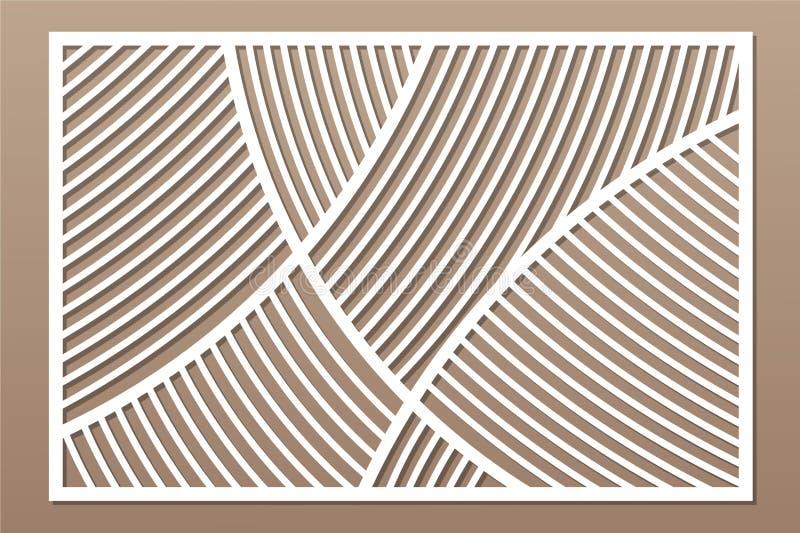 Cartão decorativo para cortar Teste padrão linear geométrico Painel do corte do laser 2:3 da relação Ilustração do vetor ilustração do vetor