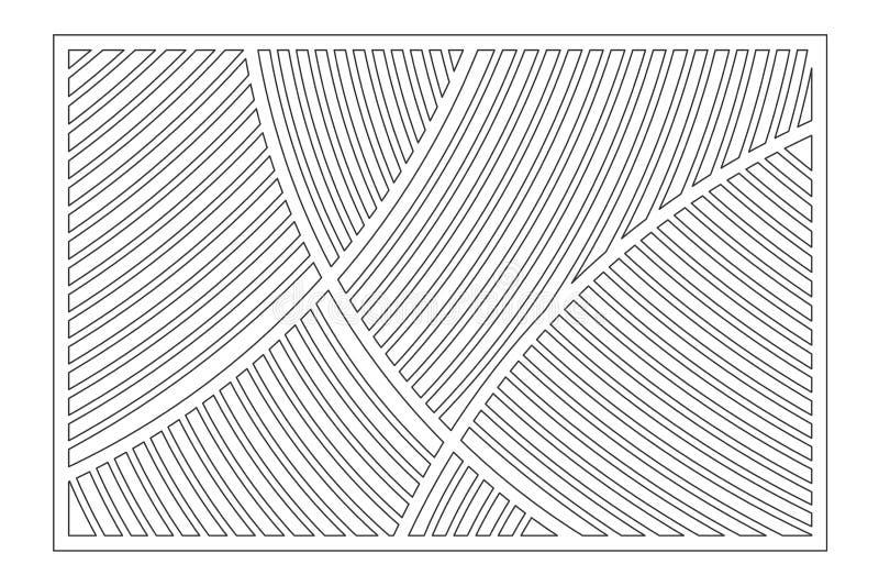 Cartão decorativo para cortar Teste padrão linear geométrico Painel do corte do laser 2:3 da relação Ilustração do vetor ilustração royalty free