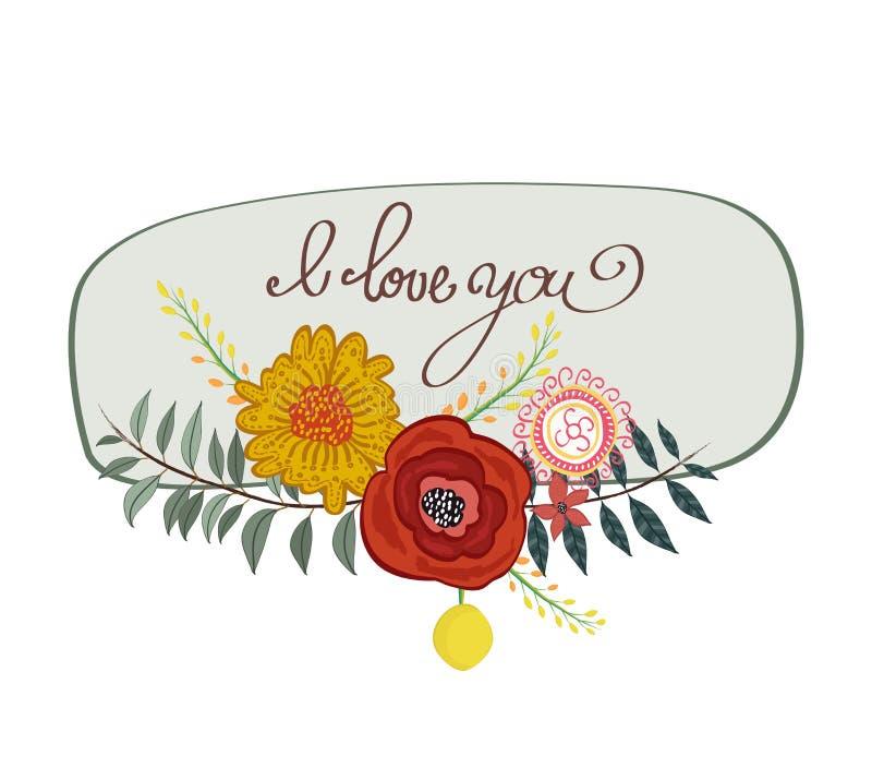 Cartão delicado da aquarela da mola do vintage com flores de florescência Eu te amo ilustração royalty free