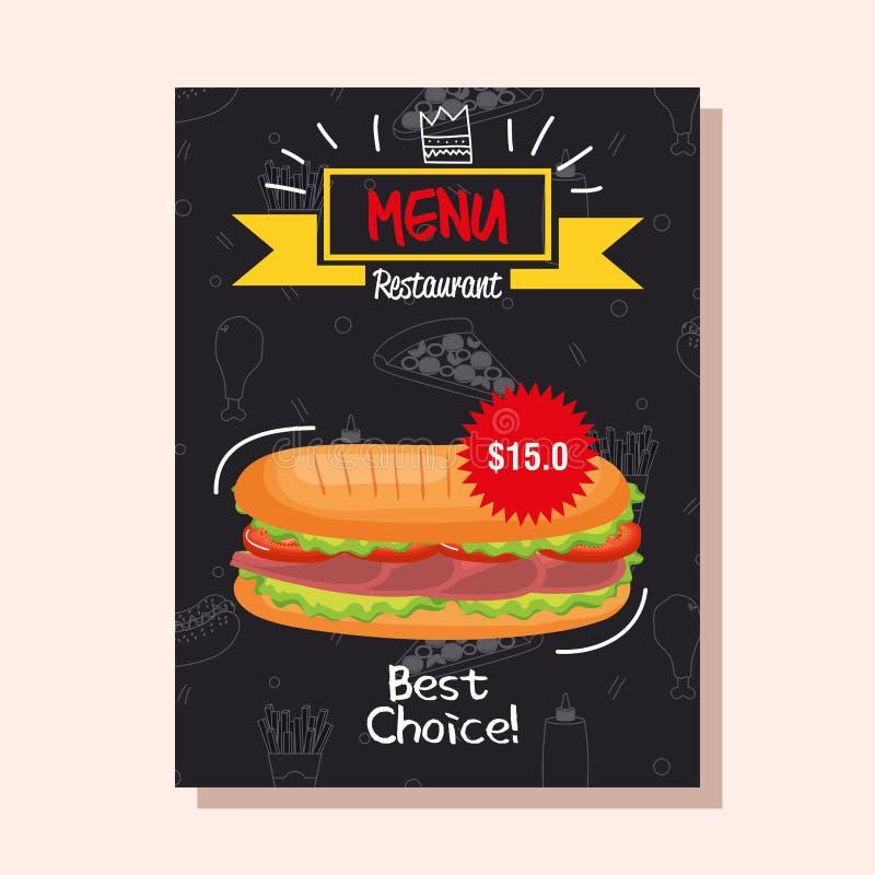 Cartão delicioso do menu do restaurante do fast food do sanduíche ilustração do vetor