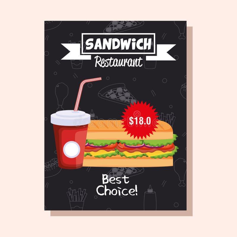Cartão delicioso do menu do restaurante do fast food do sanduíche ilustração stock