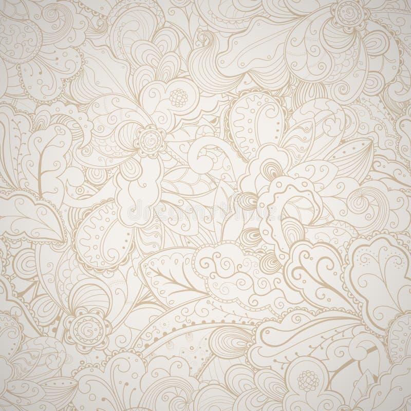 Cartão desenhado à mão abstrato bege sem emenda floral. ilustração do vetor