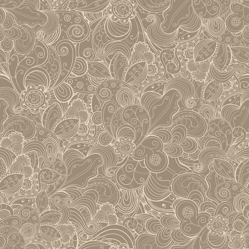 Cartão desenhado à mão abstrato sem emenda floral. ilustração stock