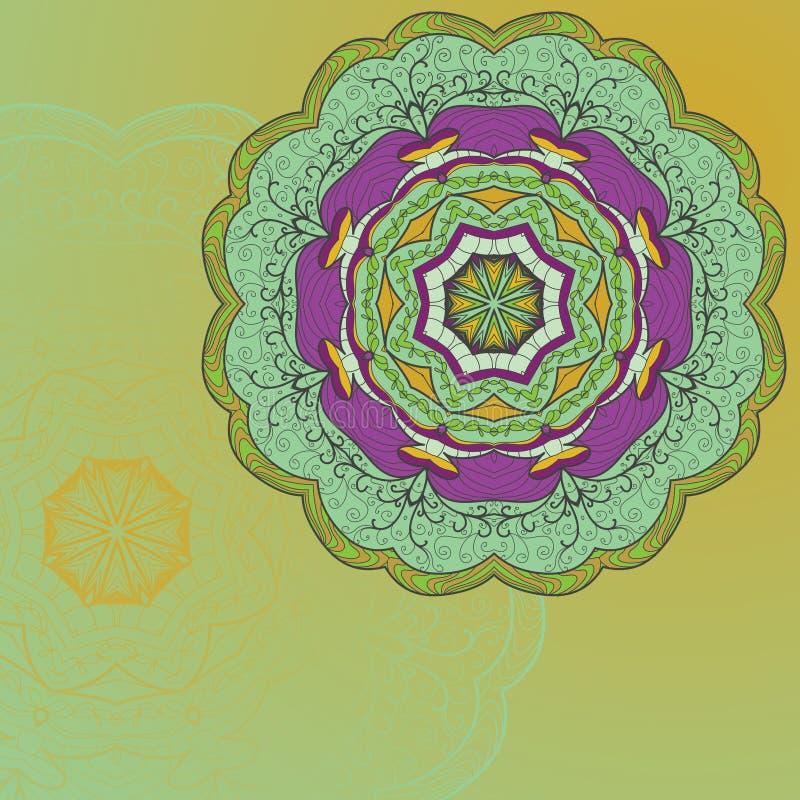 Cartão desenhado à mão do ornamento do laço do círculo ilustração royalty free