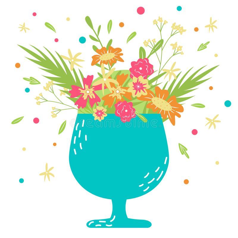 Cartão desenhado à mão do vetor com flores em um copo Modo da mola ilustração royalty free