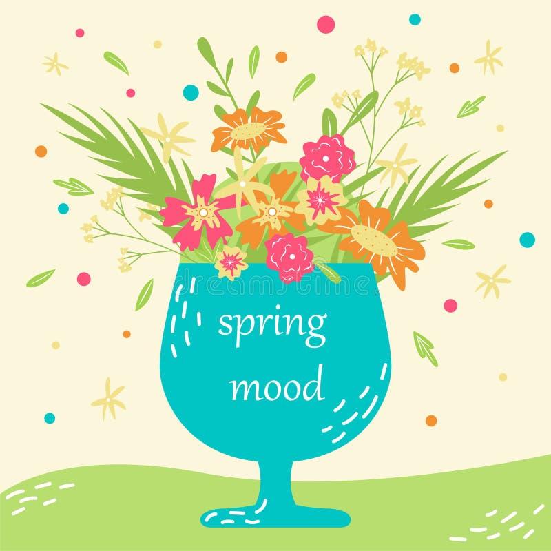 Cartão desenhado à mão do vetor com flores em um copo Modo da mola ilustração stock