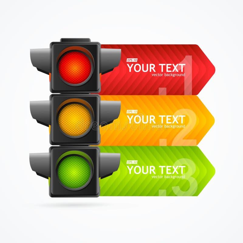 Cartão detalhado realístico da bandeira da luz de tráfego rodoviário 3d Vetor ilustração do vetor