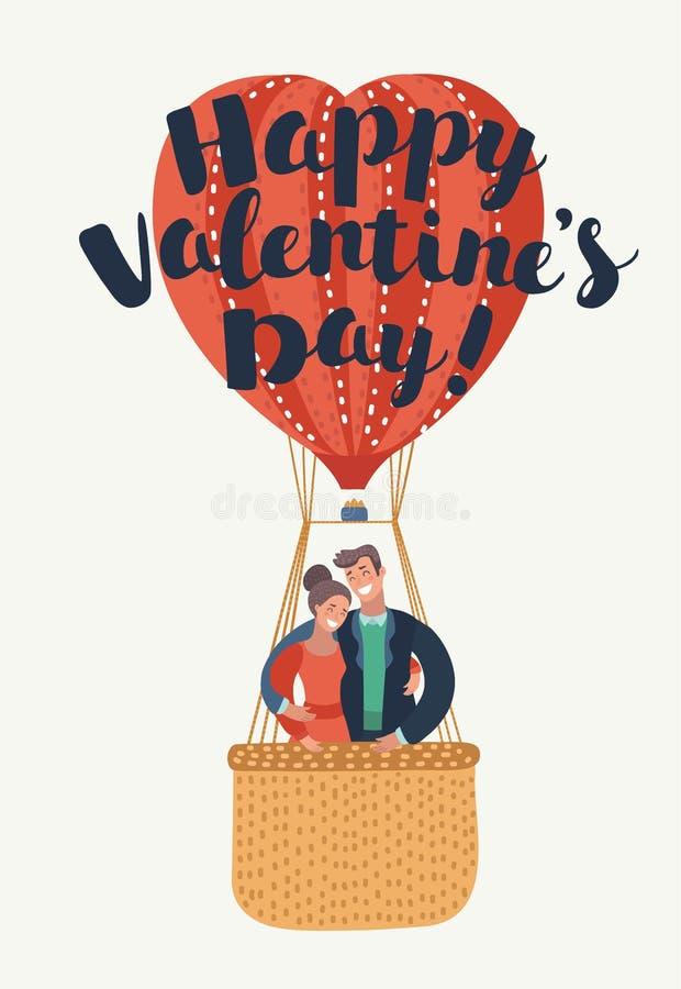 Cartão: Dia feliz do ` s do Valentim ilustração stock