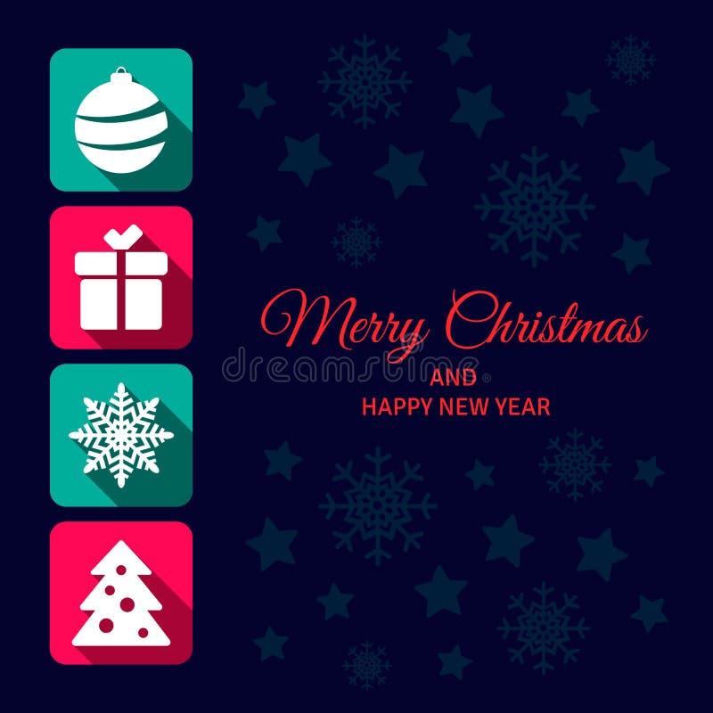 Cartão do ícone do Natal ilustração royalty free