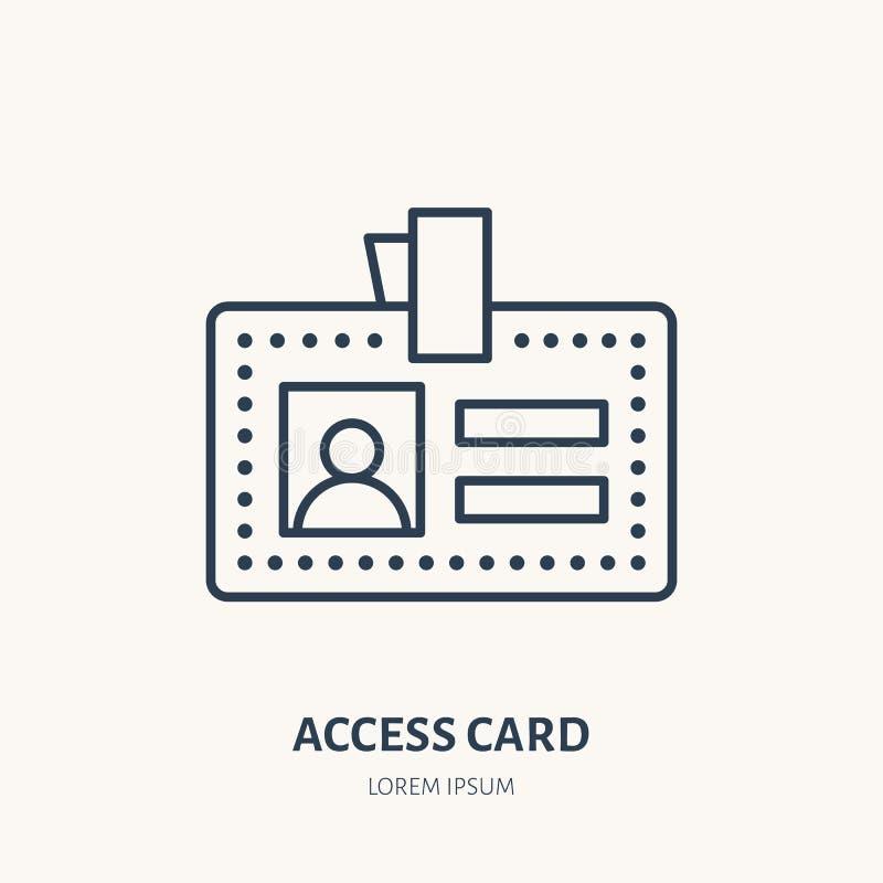 Cartão do acesso do empregado, linha lisa ícone do vetor da identidade Original da identificação, sinal do crachá ilustração stock