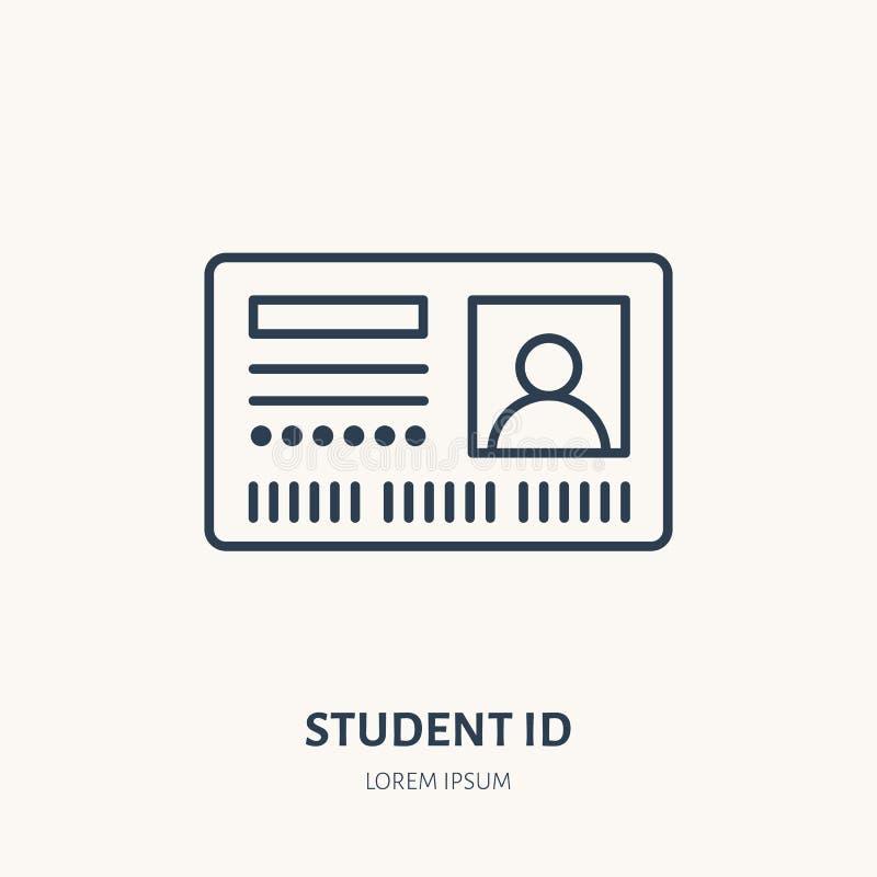 Cartão do acesso do estudante, linha lisa ícone do vetor da identidade Sinal do original da identificação ilustração stock