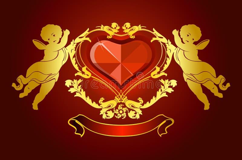 Cartão do amor com anjos ilustração royalty free