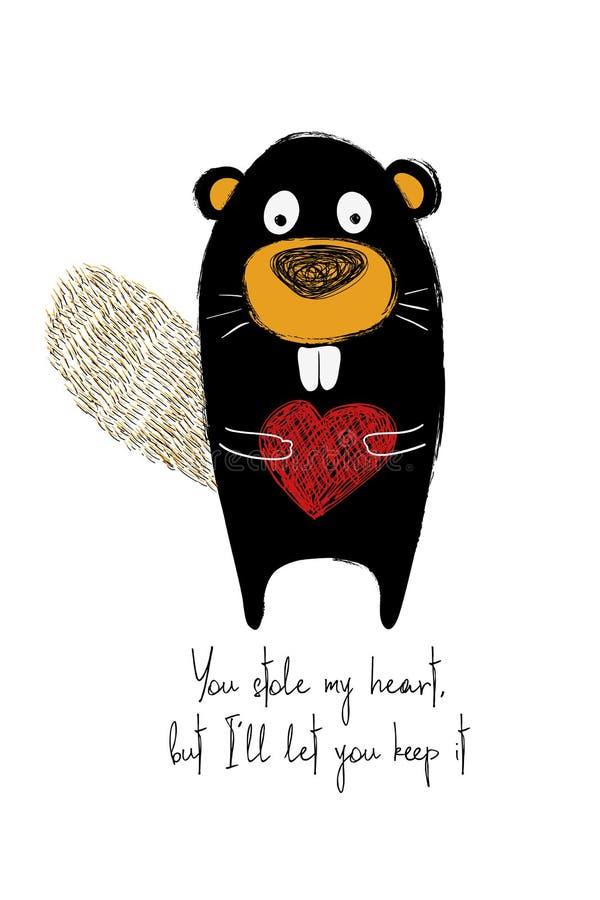 Cartão do amor com castor bonito ilustração royalty free