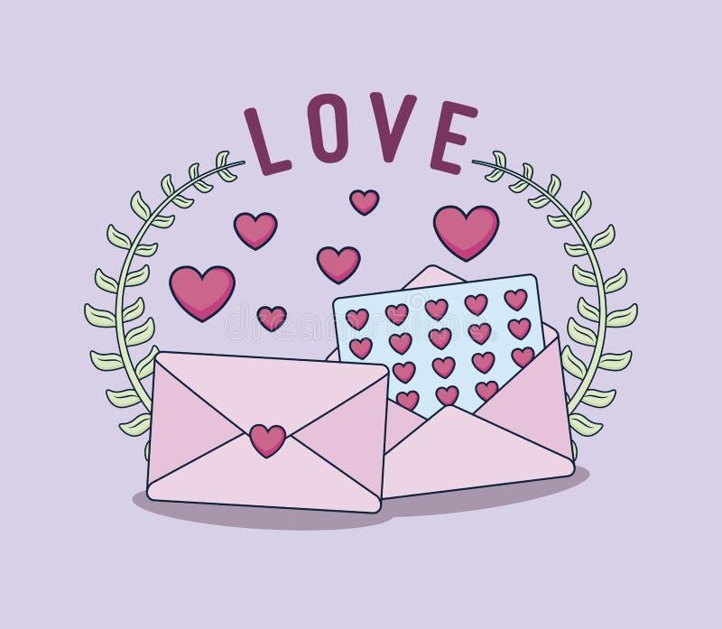 Cartão do amor com envelopes ilustração royalty free