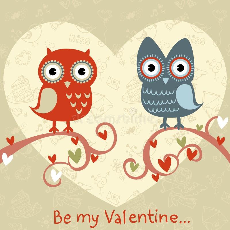 Cartão do amor do Valentim com corujas e corações ilustração royalty free