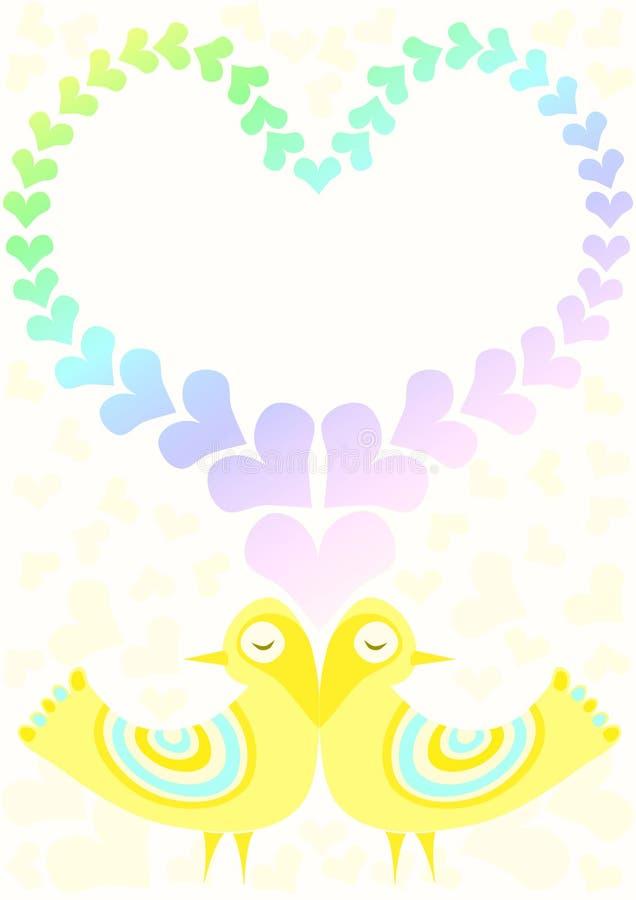 Cartão do amor dos pássaros do dia de Valentim ilustração stock