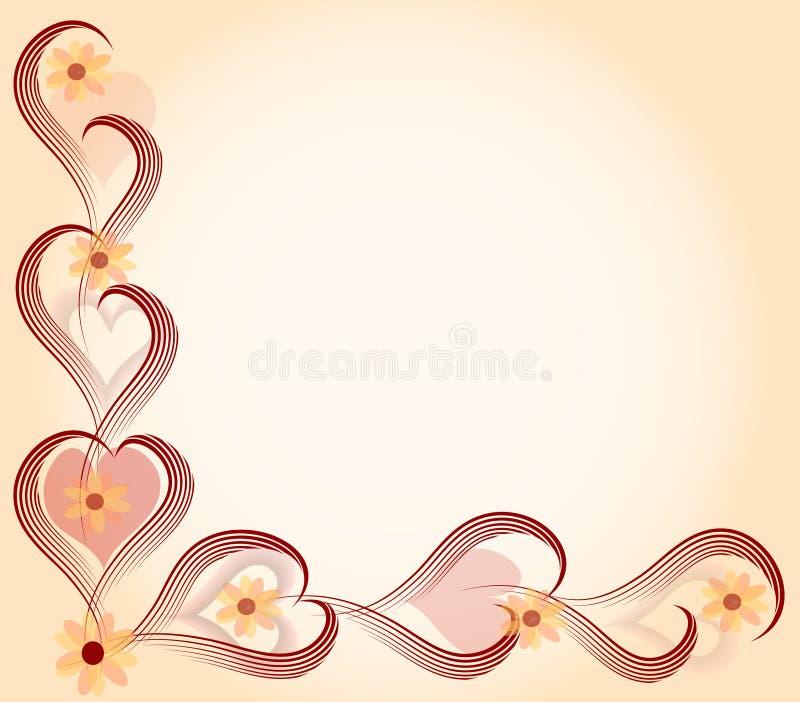 Cartão do amor no coração e nas flores ilustração royalty free