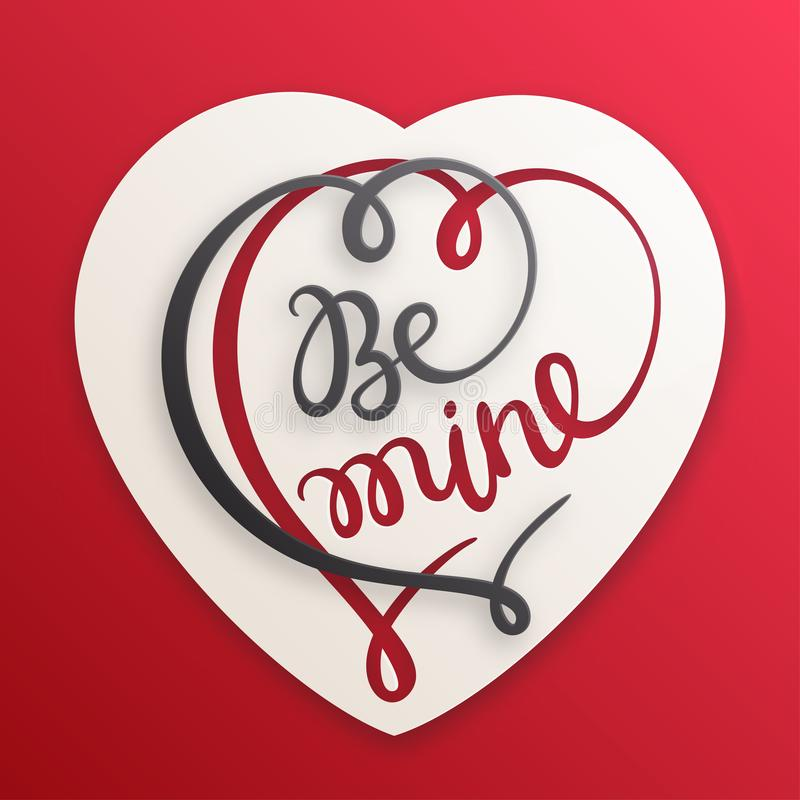 Cartão do amor para o dia do Valentim s Seja ilustração da mina com coração cortado de papel ilustração royalty free