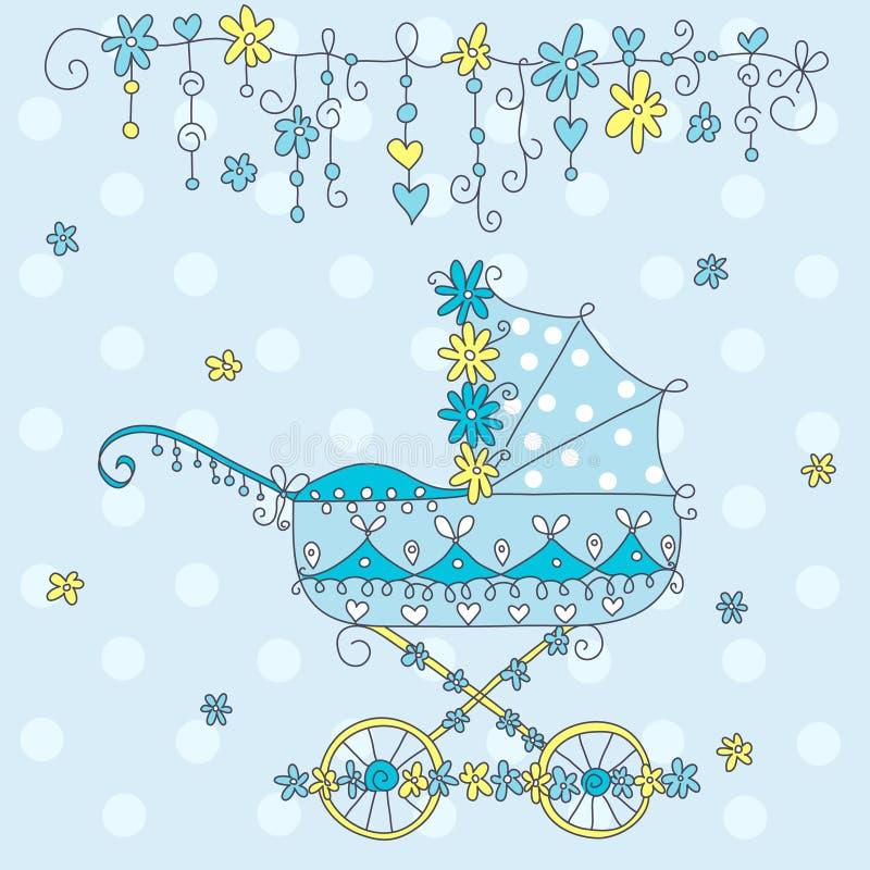 Cartão do anúncio da chegada do bebê. ilustração royalty free