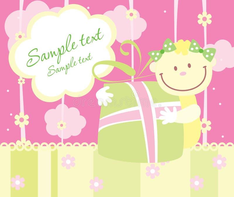 Cartão do anúncio da chegada do bebê ilustração do vetor
