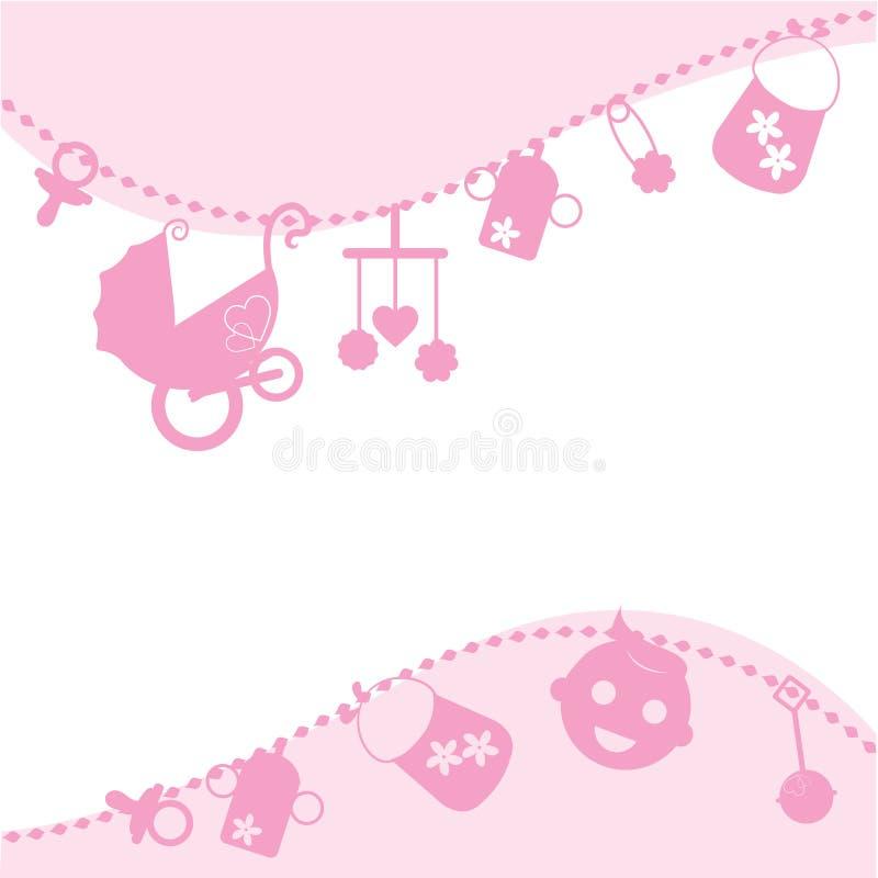 Cartão do anúncio da cor-de-rosa de bebê ilustração royalty free