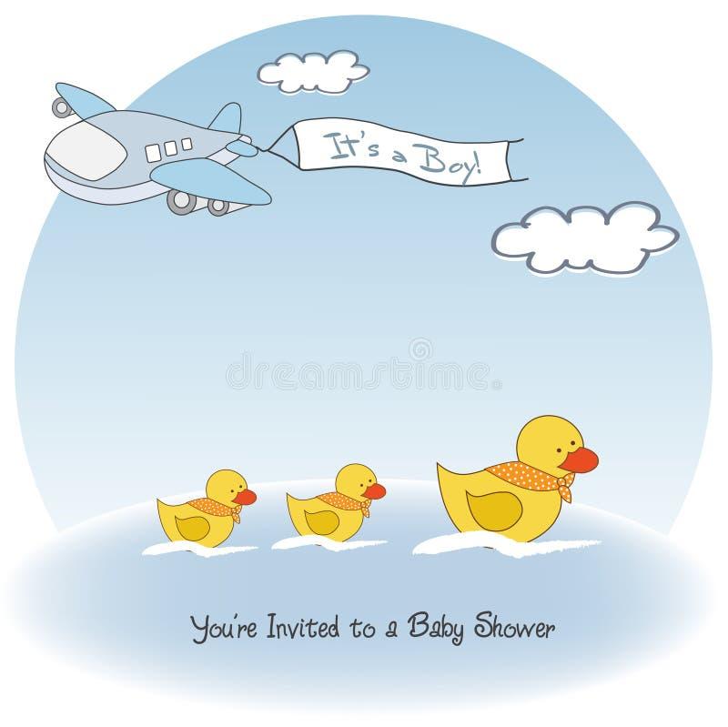 Cartão do anúncio do bebé com avião ilustração do vetor