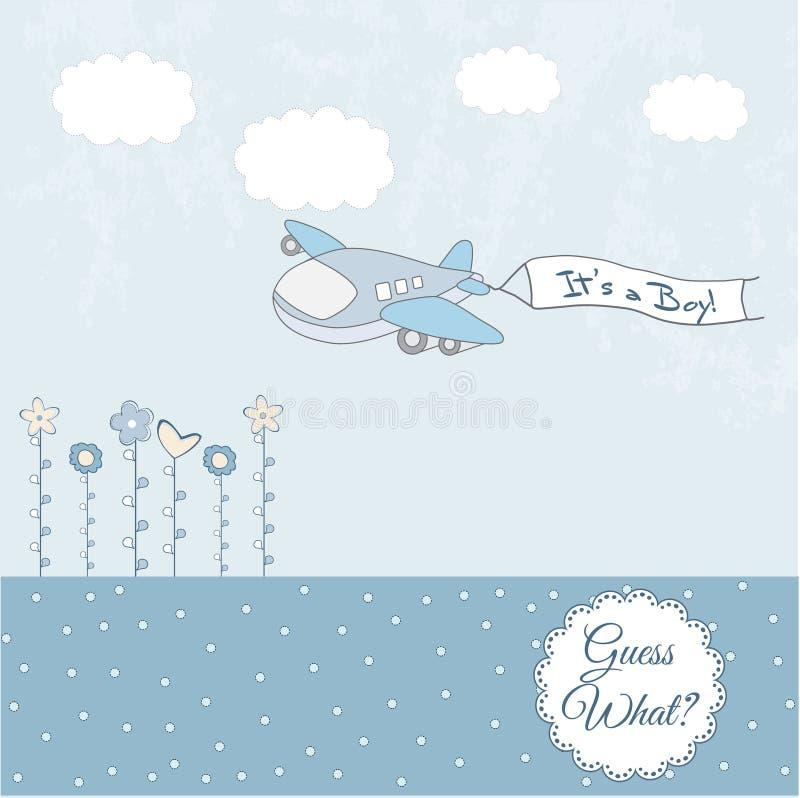 Cartão do anúncio do bebé com avião ilustração royalty free