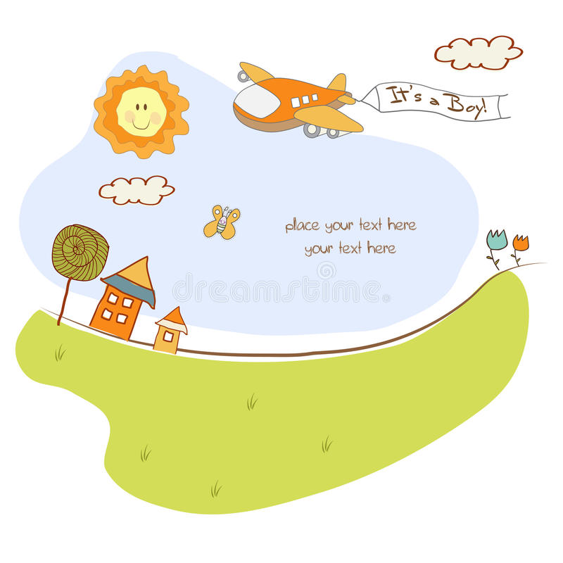 Cartão do anúncio do bebê com avião ilustração stock