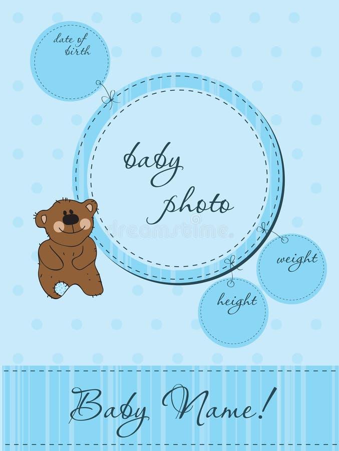 Cartão do anúncio do bebê com quadro ilustração stock