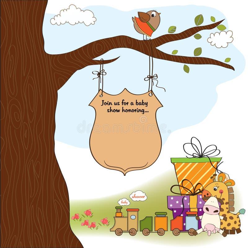 Cartão do anúncio do chuveiro de bebê ilustração do vetor