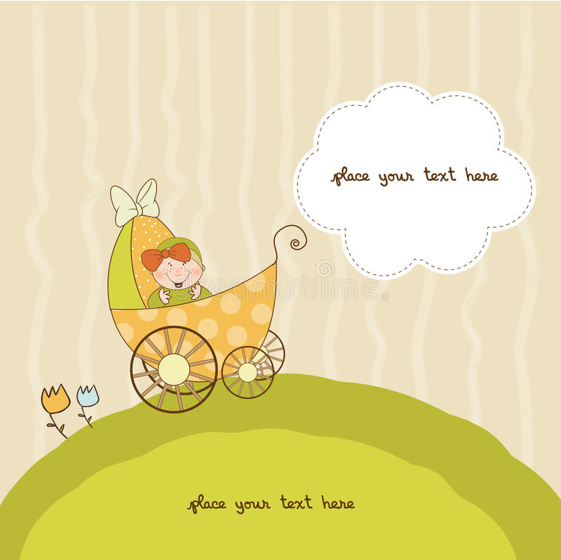 Cartão do anúncio do chuveiro de bebê com pram ilustração stock