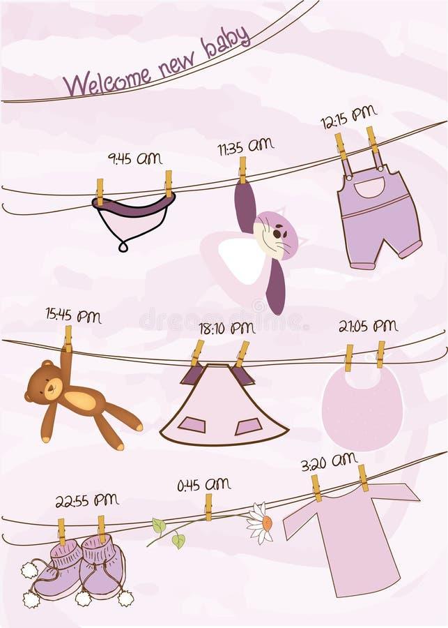 Cartão do anúncio do chuveiro do bebé ilustração do vetor