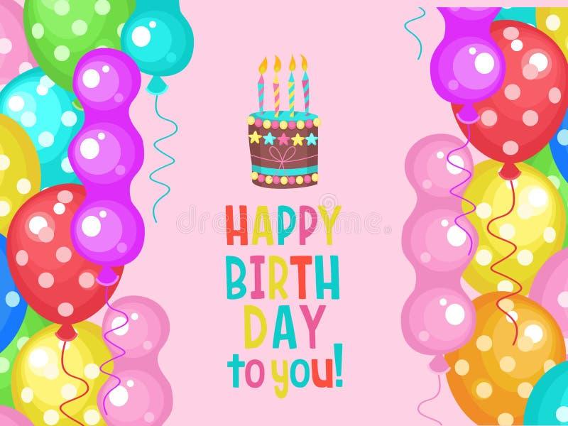 Cartão do aniversário Balões coloridos coloridos Bolo de aniversário com velas ilustração do vetor