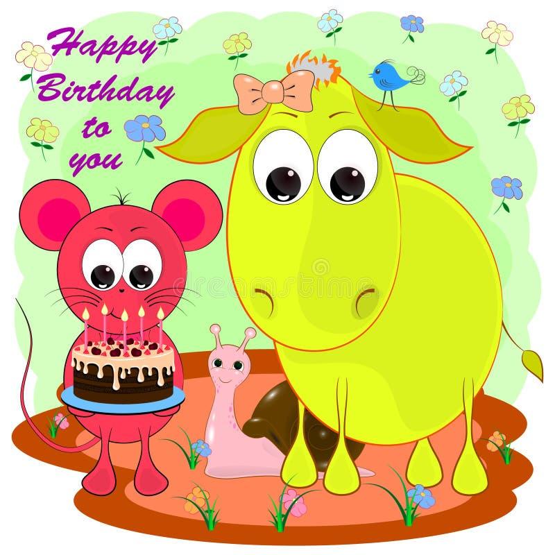 Cartão do aniversário com asno e rato ilustração stock