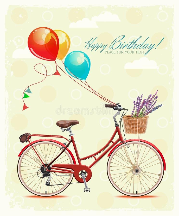 Cartão do aniversário com bicicleta e balões no estilo do vintage Ilustração do vetor ilustração royalty free