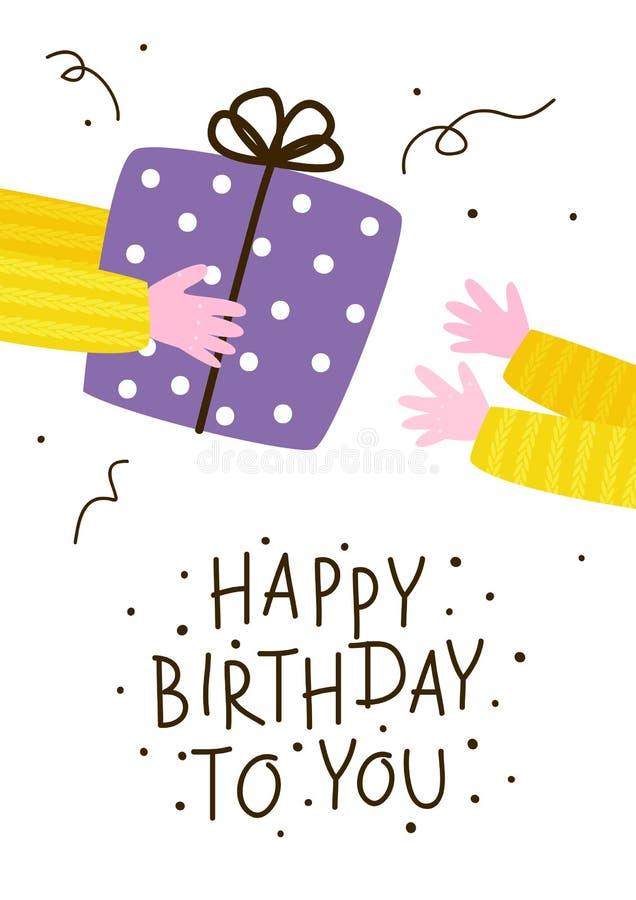 Cartão do aniversário com presente ilustração stock