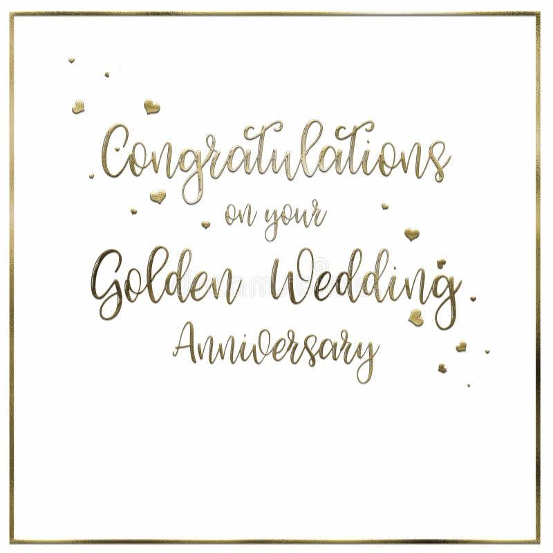 Cartão do aniversário de casamento simples, dourado ilustração do vetor