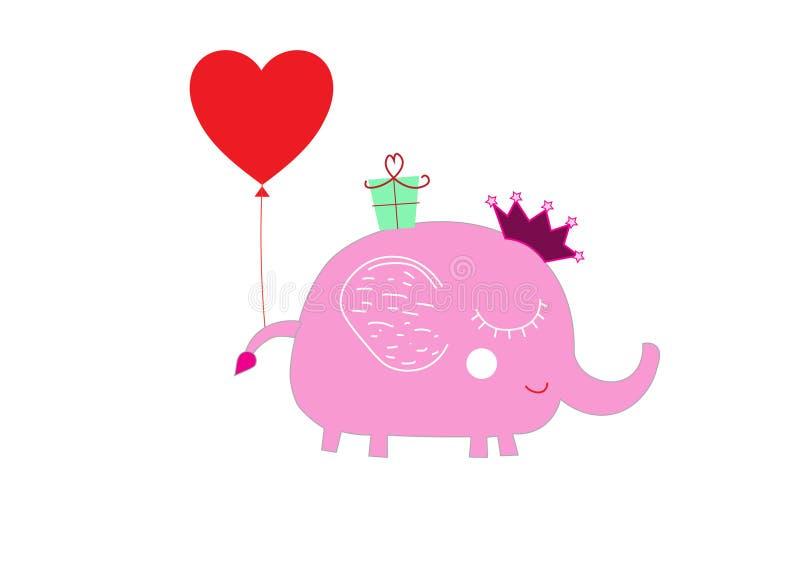 Cartão do aniversário do elefante bonito do bebê primeiro ilustração do vetor
