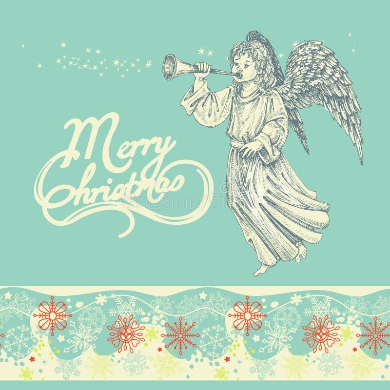 Cartão do anjo do Natal ilustração stock