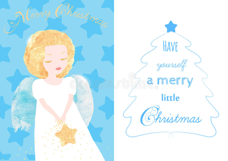 Cartão do anjo do Natal ilustração royalty free