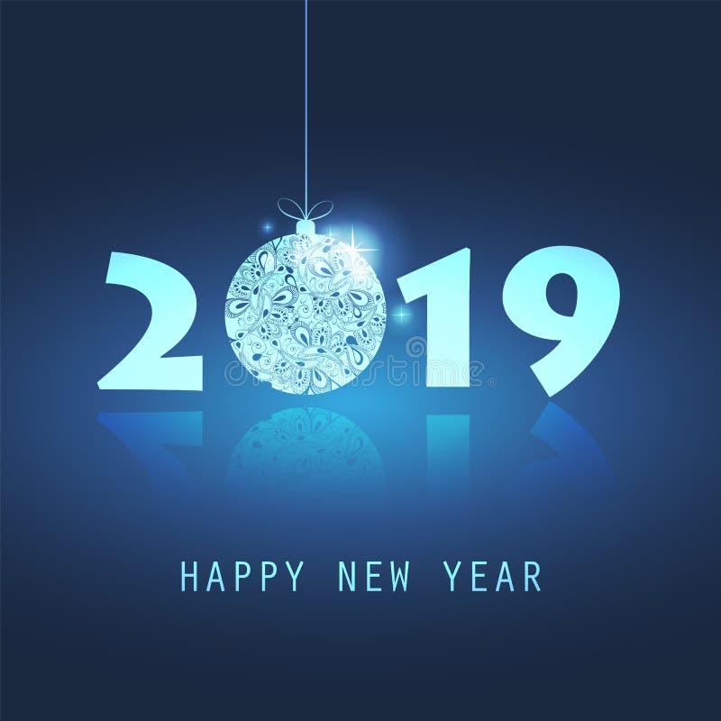 Cartão do ano novo - 2019 ilustração do vetor