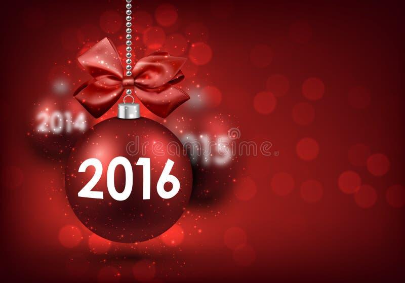 Cartão do ano 2016 novo ilustração stock