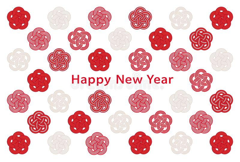 Cart?o do ano novo com ?cones do abric? japon?s fotografia de stock royalty free