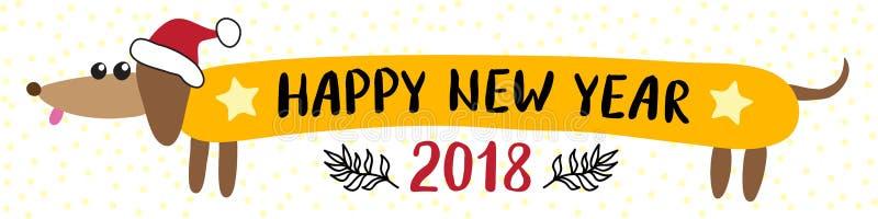 Cartão 2018 do ano novo com cão do bassê ilustração stock