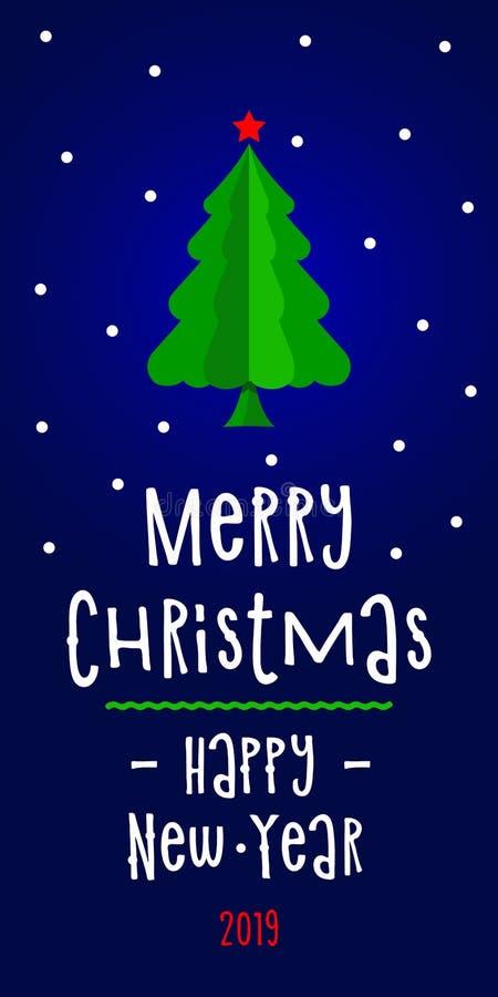 Cartão do ano novo com Feliz Natal abstrato branco da árvore e das inscrição e ano novo feliz ilustração royalty free