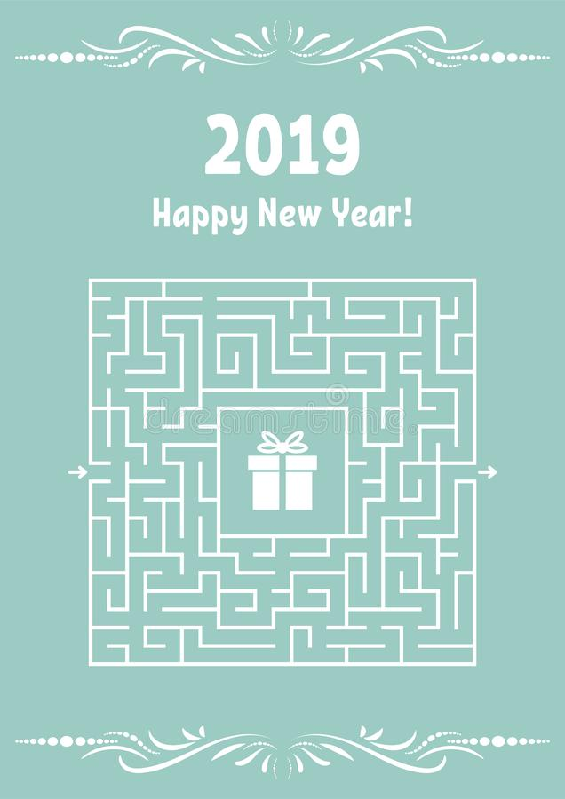 Cartão do ano novo com labirinto quadrado Encontre o trajeto direito ao presente Jogo para miúdos Enigma para crianças Enigma do  ilustração royalty free