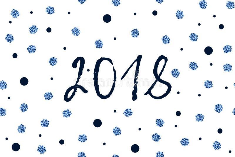 Cartão do ano novo com os pontos azuis azuis e sparkled da obscuridade - ilustração do vetor